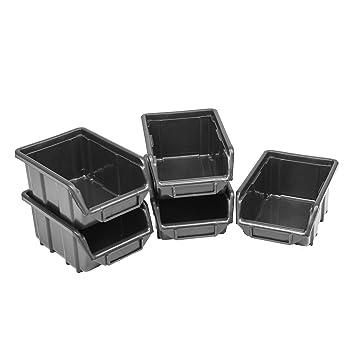 10 Cajas apilables Cajas de almacenamiento de visión plástico PP 110 x 165 x 75 Talla 1 negro almacenamiento caja: Amazon.es: Bricolaje y herramientas