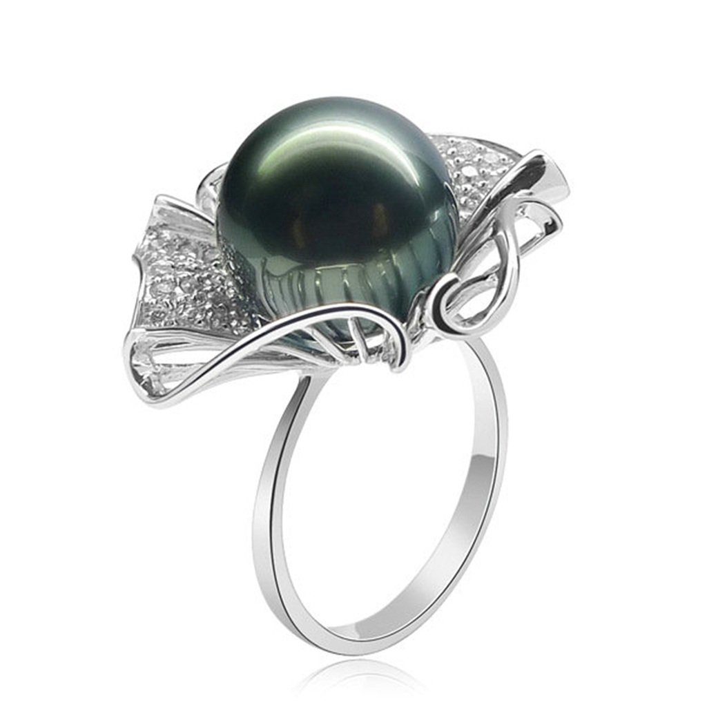 AmDxD Jewelry Silver Plated Women Promise Customizable Rings Tahiti Flower Pearl Size 9.5,Engraving