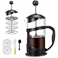 Covos French Press Coffee Maker 12oz(350ml)Coffee/Tea Maker with 4 Level Filtration,Heat Resistant Borosilicate Glass…