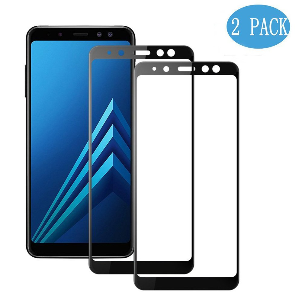 [2-Pack] Samsung Galaxy A8 Screen Protector [Full Screen Coverage], MOCACA 9H Hardness 99% HD Clarity Premium Tempered Glass Screen Protector for Samsung Galaxy A8 2018 - Black