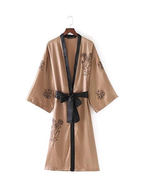 Kimono Mujer Largos Vintage Bordadas De Flores Etnica Estilo Flores Cardigan Mangas 3/4 V-Cuello Retro con con Lazo Albornoz Batas Outerwear: Amazon.es: ...