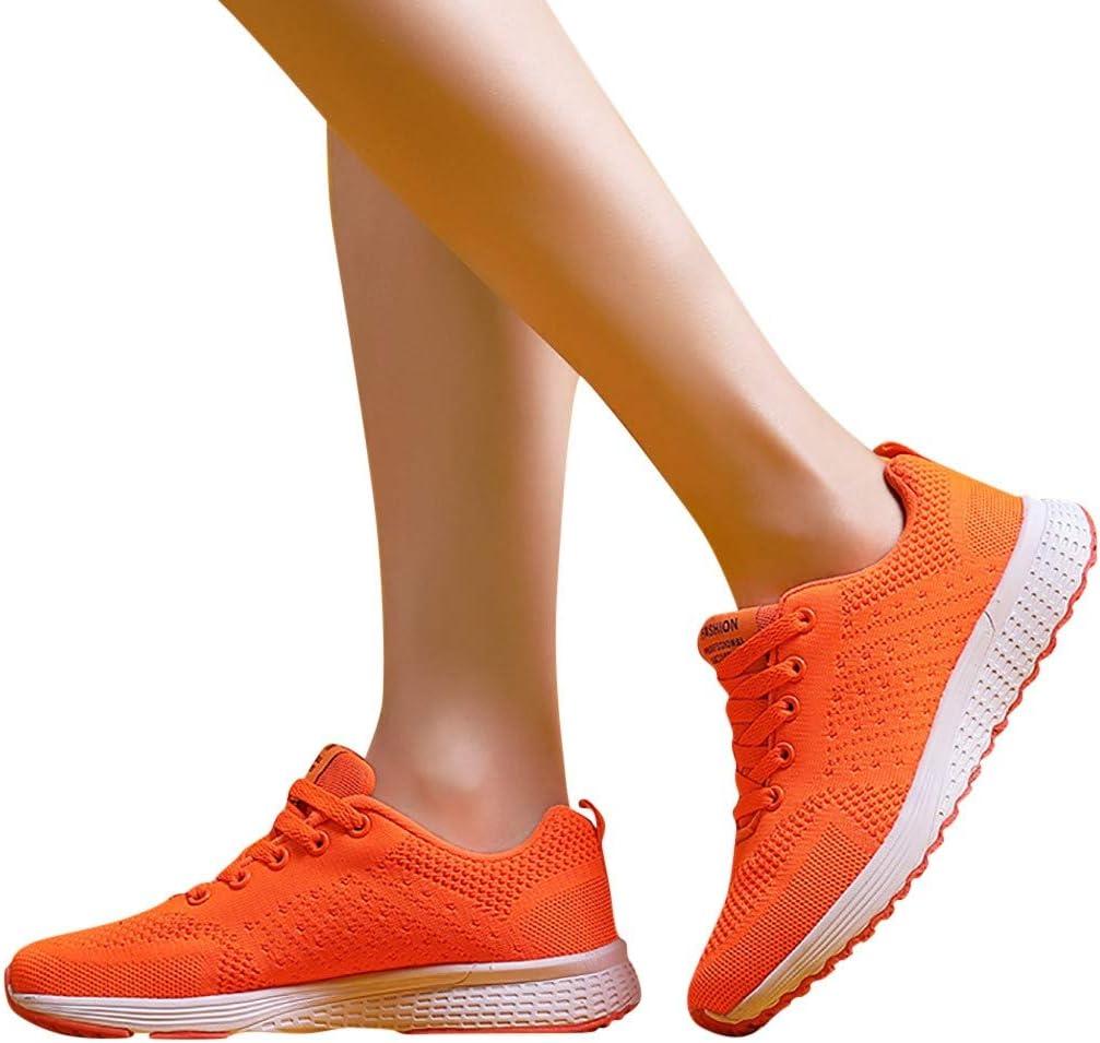LILICAT✈✈ Zapatillas de Deporte con Cordones de Moda para Mujer Color sólido Malla Transpirable Tejeduría Zapatillas Deportivas: Amazon.es: Deportes y aire libre