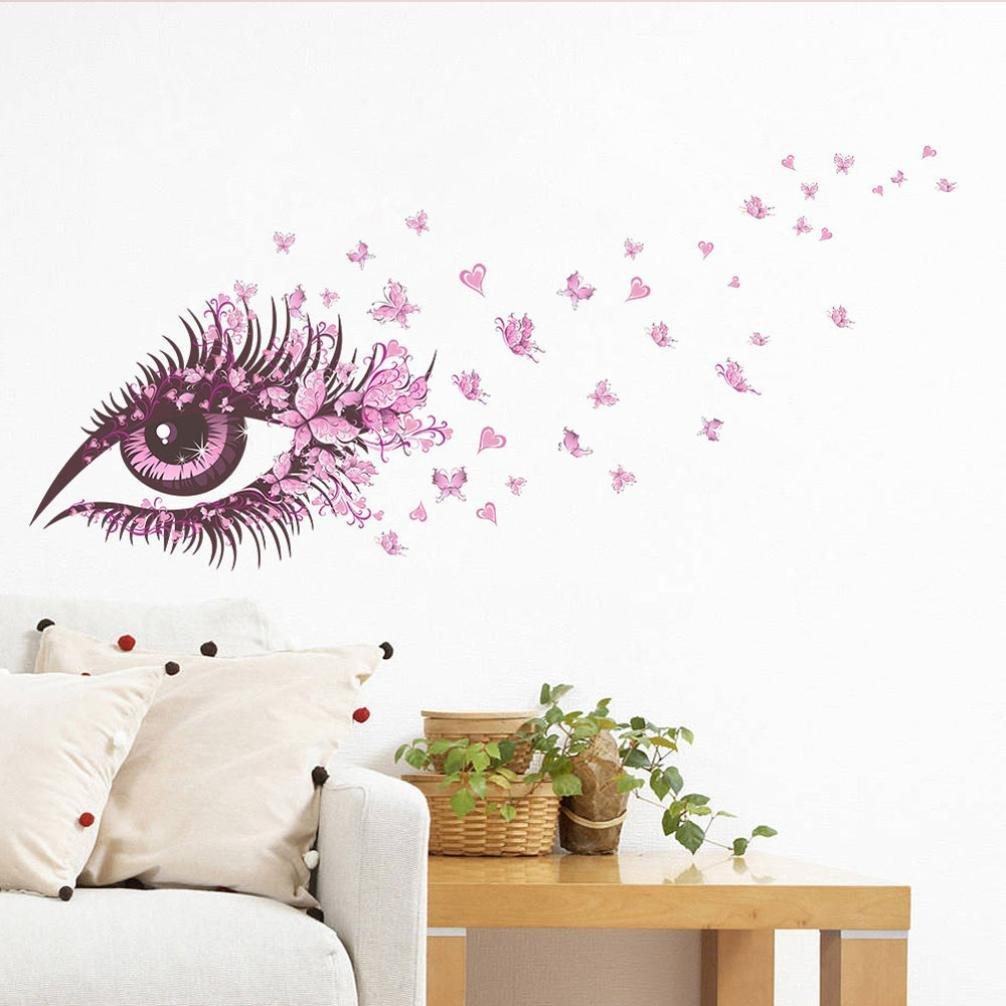 Bovake Sch/öne M/ädchen-Augen-Rosa-Schmetterlings-Dekor-Wohnzimmer-Dekor-DIY Art-Wand-Aufkleber-Ausgangs-Abziehbilder