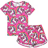 Little Girls Pajamas Set Summer Teen Unicorn American Cotton Short Sleeve Flower