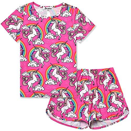 Little Girls Pajamas Set Summer Teen Unicorn American Cotton Short Sleeve Flower by Jxstar