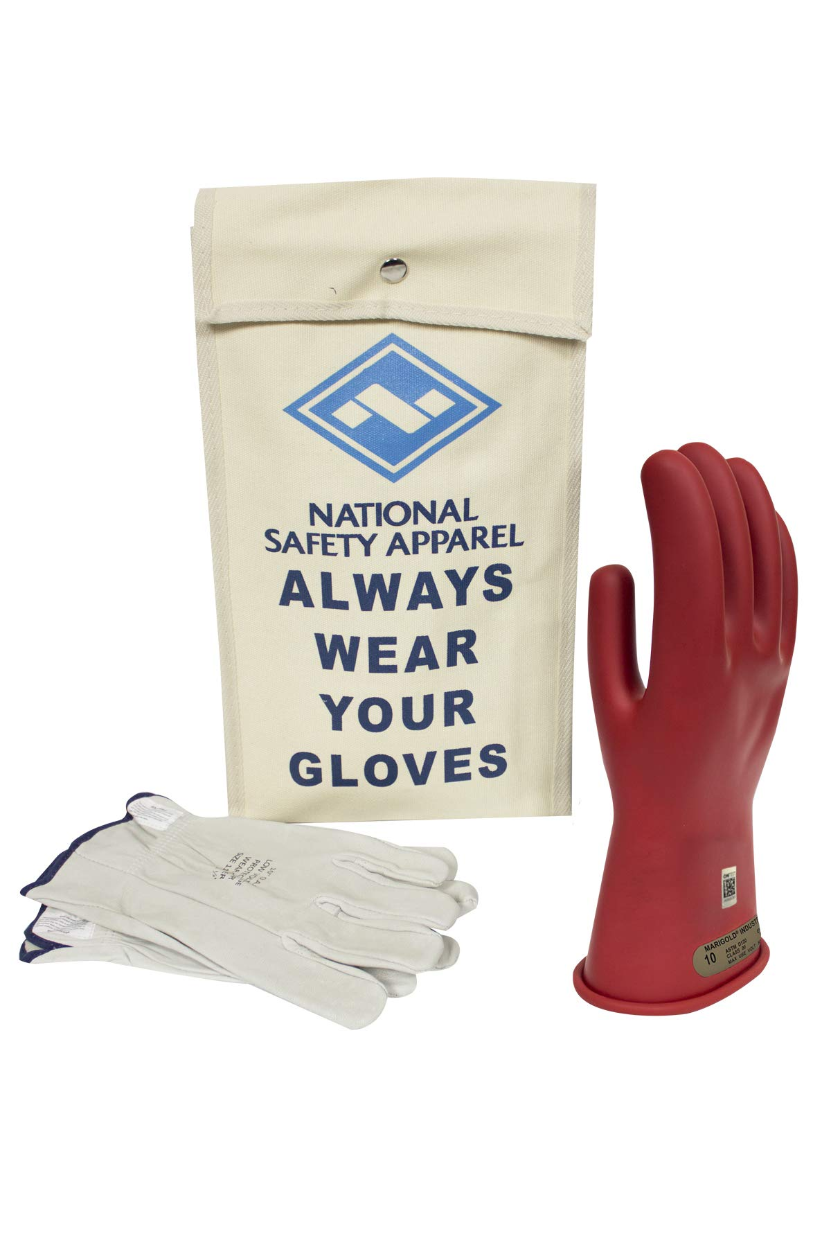 National Safety Apparel Class 00 Red Rubber Voltage Insulating Glove Kit with Leather Protectors, Max. Use Voltage 500V AC/ 750V DC (KITGC0010R) by National Safety Apparel Inc (Image #1)