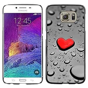 Shell-Star Arte & diseño plástico duro Fundas Cover Cubre Hard Case Cover para Samsung Galaxy S6 / SM-G920 / SM-G920A / SM-G920T / SM-G920F / SM-G920I ( Red Heart Drop Rain )