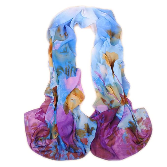 b14cf0dde0979 Happy Star® Echarpe - Femme - Bleu - Large  Amazon.fr  Vêtements et ...
