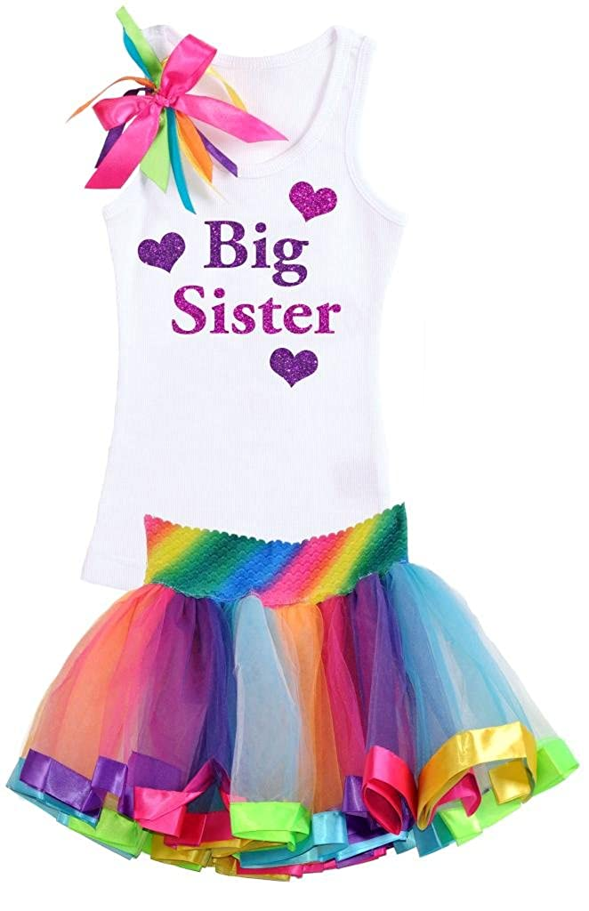Bubblegum Divas Little Girls Big Sister Shirt Rainbow Tutu Skirt