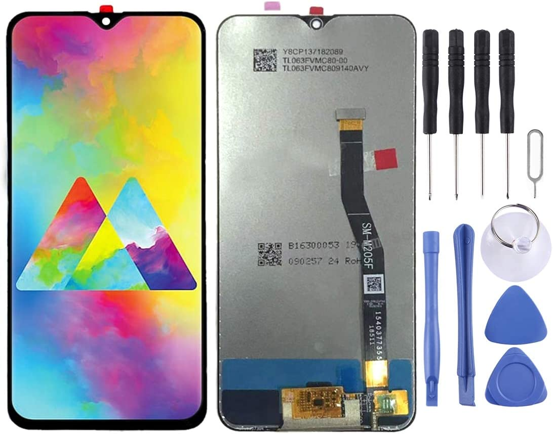 Black MOBILEACCESSORIES for Tang YI MING TENGLIN LCD Screen and Digitizer Full Assembly for Galaxy M20 Color : Black