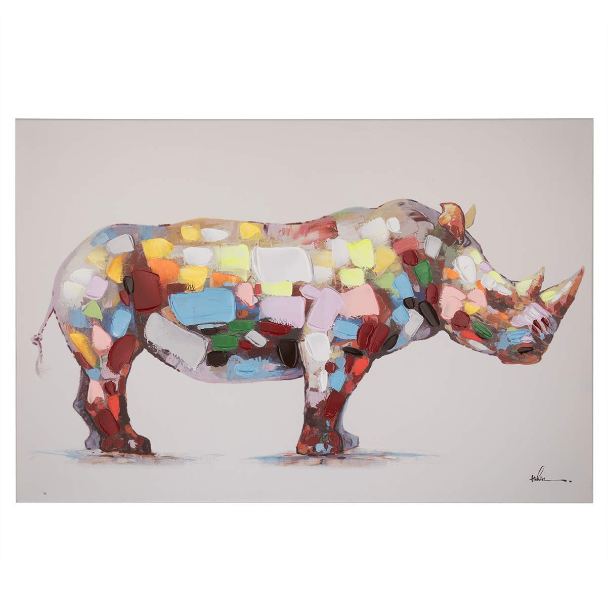 """Colorful Rhino Wall Art Modern Printing On Canvas Painting with Hand Embellished Home Decor 24"""" x 36"""""""