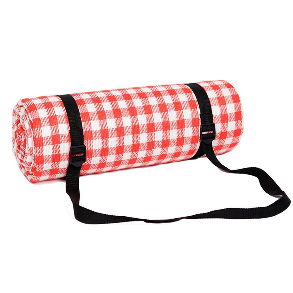 Picnic and Outdoor Blanket Large Oversized with Waterproof Backing Mat Red and White Checkered Size 79'' x 79'' inch by Generic