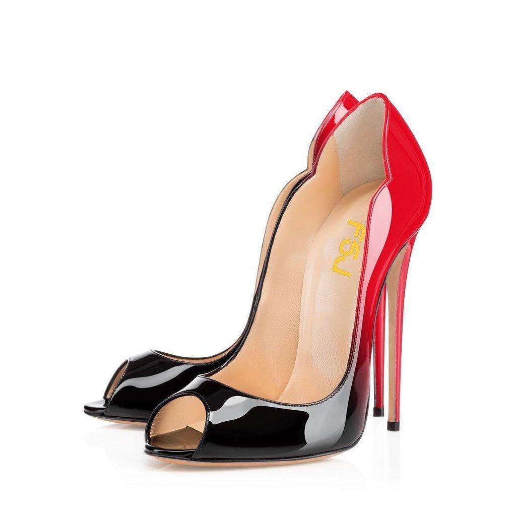 FSJ Women Slide Peep Toe High Heels Pumps Sexy Stilettos Patent Leather Shoes for Party Size 4-15 US B01HJJBDMS 9.5 B(M) US|Red-black