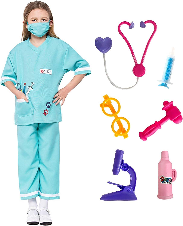 LOLANTA Niño Unisex Doctor Disfraces Veterinario Juego de Roles Disfraces de Halloween adjuntar Juguetes médicos