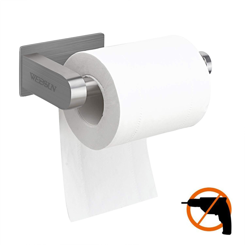 Toilettenpapierhalter Ohne Bohren, Selbstklebend Toilettenpapierrollenhalter Edelstahl Klopapierhalter Wc Halter Rollenhalter Klorollenhalter Papierhalter(Verbesserte Version) WEBSUN
