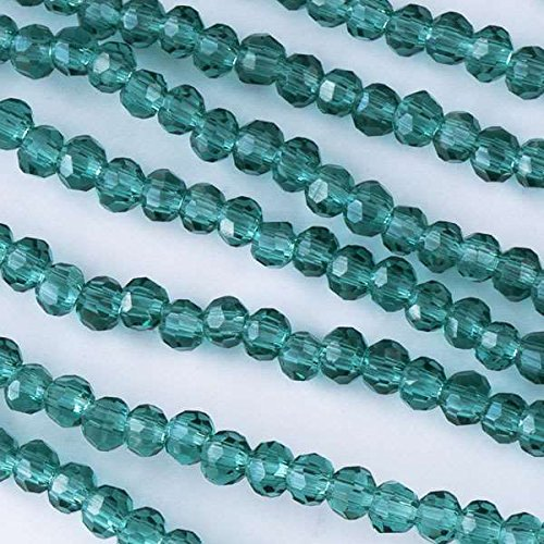 Cherry Blossom Beads 2-3mm Teal Faceted Crystal Rounds - 16 Inch Strand
