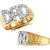 Jewelco London Men's Solid 9ct Yellow Gold White Round Brilliant Cubic Zirconia Barked Sides DAD Ring