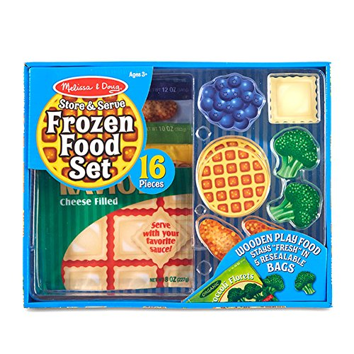 Melissa & Doug Store and Serve Frozen Food Resealable Cloth Bags With Wooden Play Food. from Melissa & Doug