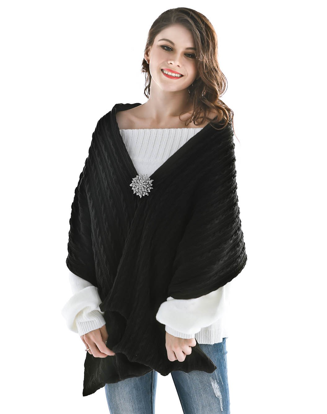 Aukmla Women's Knitted Scarf Pashminas Shawls and scarves Poncho with Brooch (Black)