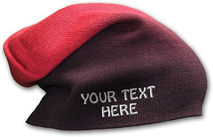 Purple-red ombre slouchy personalized beanie