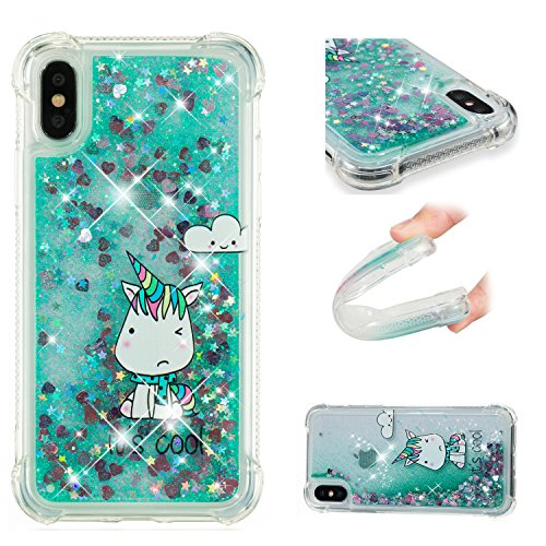 - iPhone XS Case,iPhone X Case, UZER Shockproof Cartoon Cute Bling Quicksand Liquid Moving Flowing Twinkle Glitter Shining Sparkle Diamond TPU Bumper Protective Case for iPhone XS 2018/ iPhone X 2017