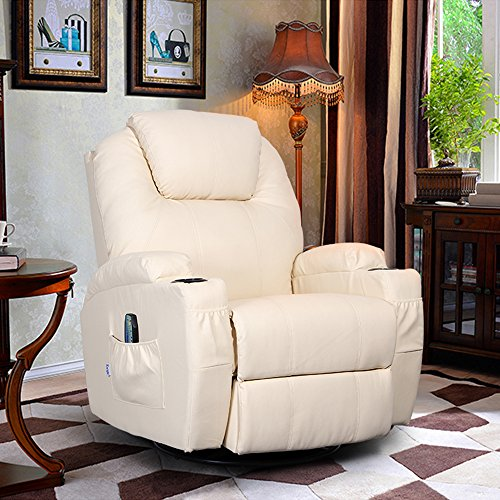 Ergonomic Recliner Leather (360 Degree Swivel Massage Recliner Leather Sofa Chair Ergonomic Lounge Swivel Heated with Control (Cream))