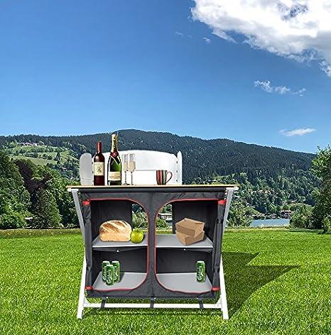 Ligero Aluminio Pop Up doble plegable Camping armario de cocina con bambú Top & bolsa de almacenamiento