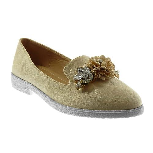 Angkorly - Chaussure Mode Mocassin slip-on femme fleurs bijoux strass Talon bloc 2.5 CM - Noir - RS160 T 40 1OIUU