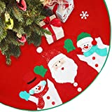 LimBridge 40'' Rustic Red Felt Christmas Tree Skirt with Stitched Santa Claus & Snowman 3D Plush Details Xmas Holiday Decoration