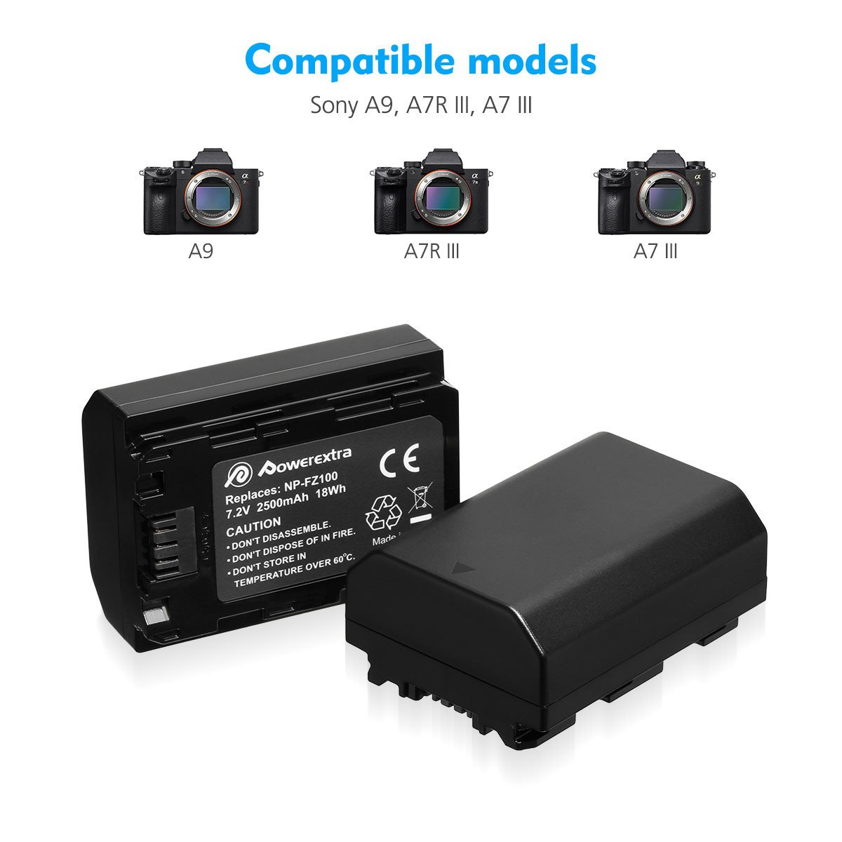 NP-FZ100 Battery Powerextra Upgraded 2 Pack Camera Batteries and Dual LCD Battery Charger Set for Sony A9 A9R A9S, Alpha9 9R 9S, A7 III A7RIII A7R3 Digital Camera