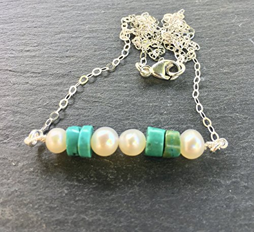 Turquoise and White Cultured Pearl Sterling Silver Dangle Necklace - Pearl Green Turquoise Necklace