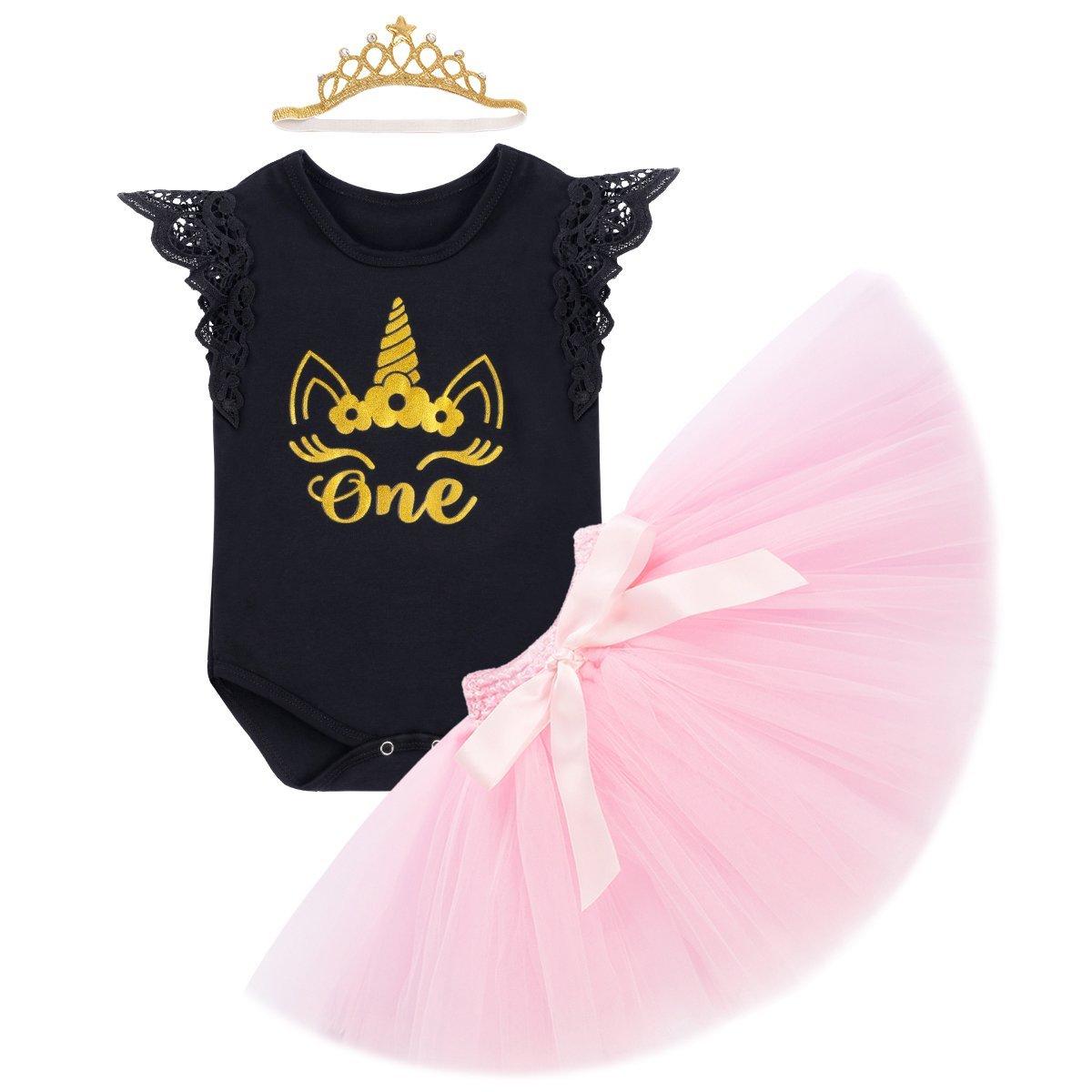 b69c6d5c0 1st Birthday Outfit Baby Girls Unicorn Bodysuit Short/Flutter Sleeve Romper  + Ruffle Tulle Skirt + Crown Headband Cake Smash Dresses up Party Clothes  3Pcs ...