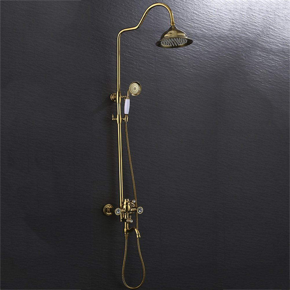 ZHWY Retro Shower set gold plating Hot and cold Faucet all bronze bathroom Lift shower
