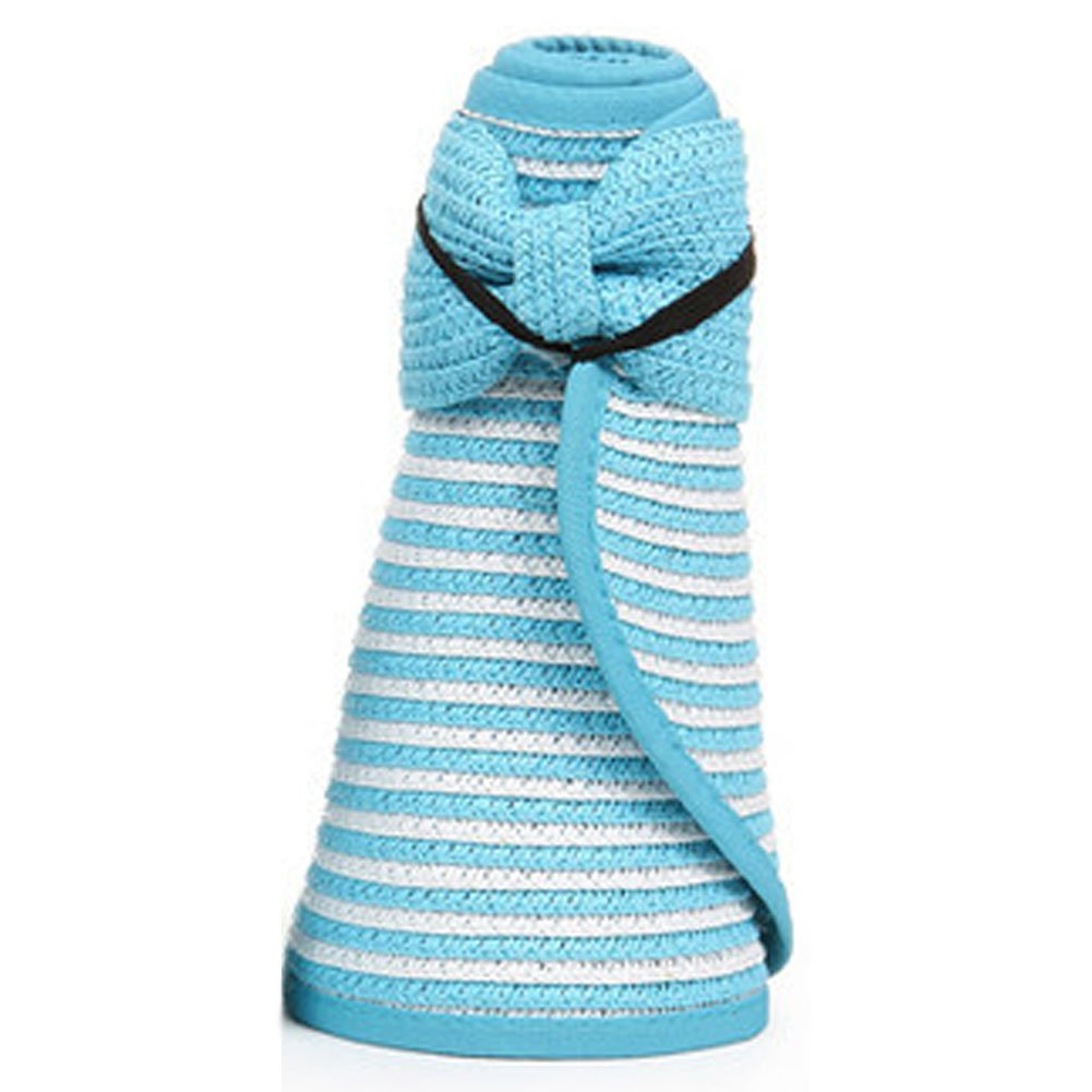 Large Brimmed夏帽子フロッピートップレス折りたたみStraw Sun Hatキャップ – ブルー   B00X70NQQ0