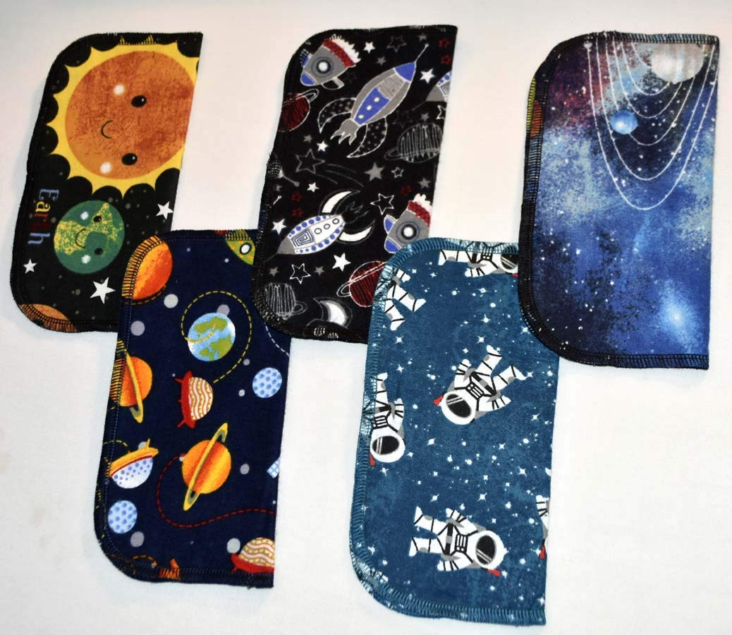 1 Ply Printed Flannel Washable. Out of This WORLD- Set Napkins 8x8 inches 5 Pack - Little Wipes (R) Flannel