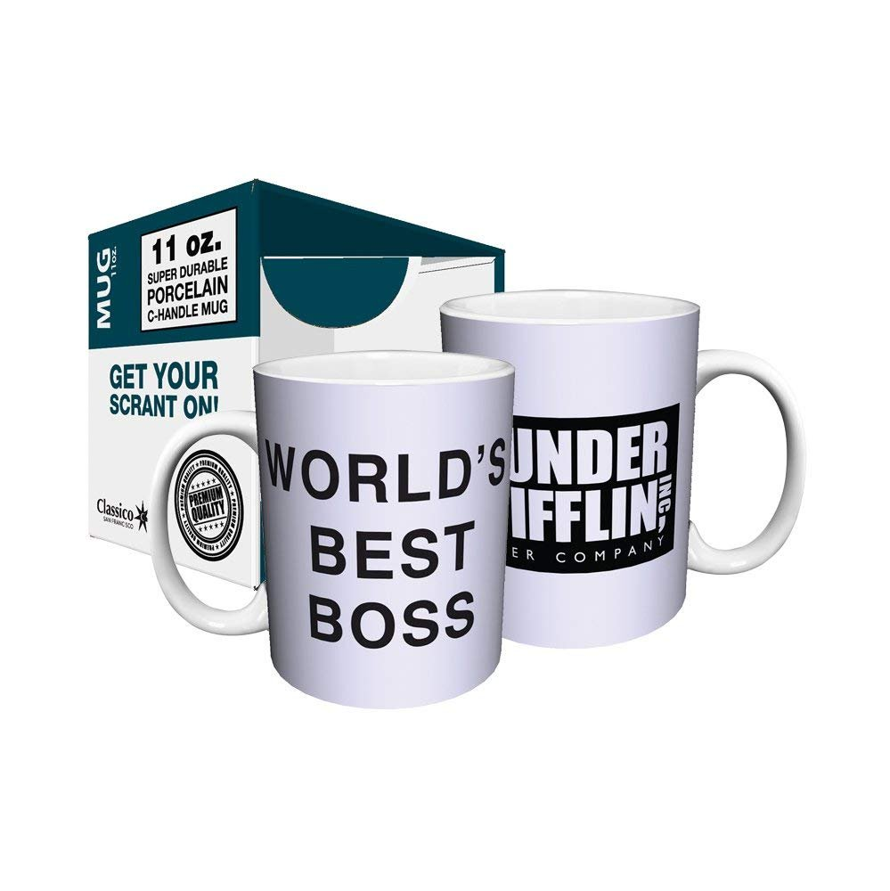 Dunder Mifflin (The Office) World's Best Boss TV Television Show Ceramic Gift Coffee (Tea, Cocoa) 11 OZ Mug, By CulturenikOfficially Licensed from NBC/Universal TV. by Culturenik (Image #3)