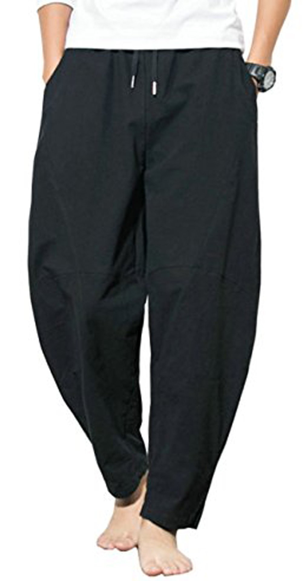 Thrivqyaf Men's Summer Casual Baggy Drawstring Cotton Beach Harem Pants Trousers (US M = Asian 2XL Waist:33''-34'', Black) by Thrivqyaf (Image #2)