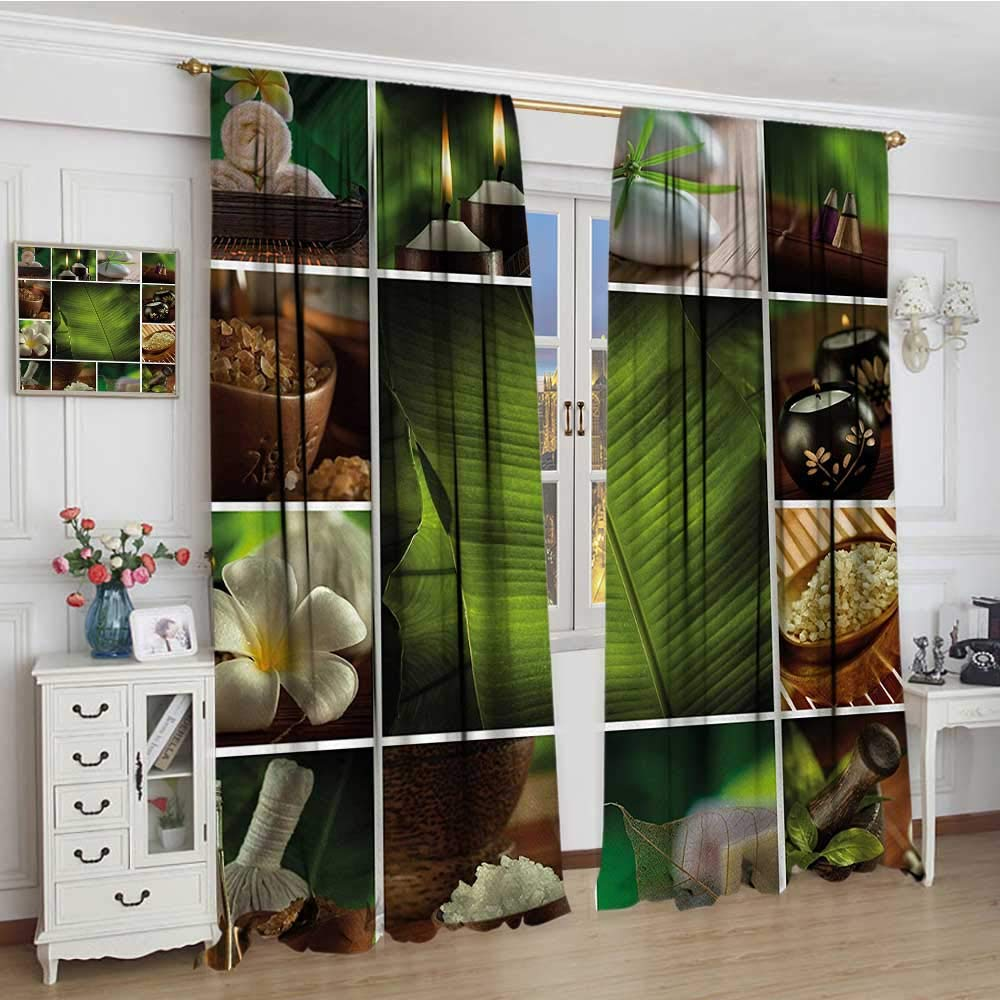 "smallbeefly Spa Room Darkening Wide Curtains Collage of Candles Stones Herbal Salts Towels Botanic Plants Design Print Decor Curtains By 72""x84"" Green White and Brown"