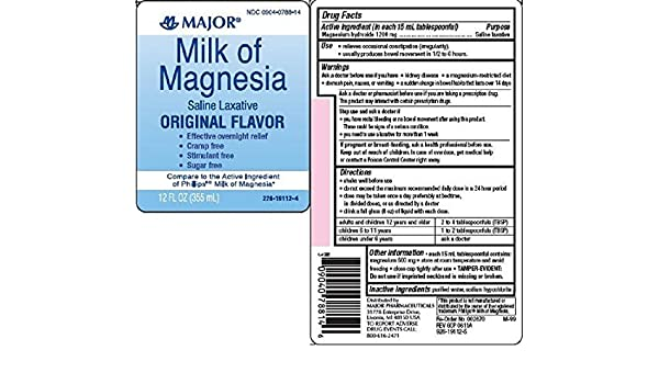 Major Milk of Magnesia Suspension, 400mg/5mL, 16oz by MAJOR: Amazon.es: Salud y cuidado personal