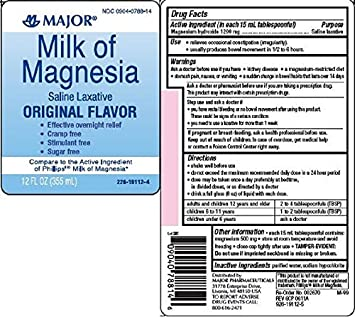 Major Milk of Magnesia Suspension, 400mg/5mL, 16oz - Buy Packs and SAVE
