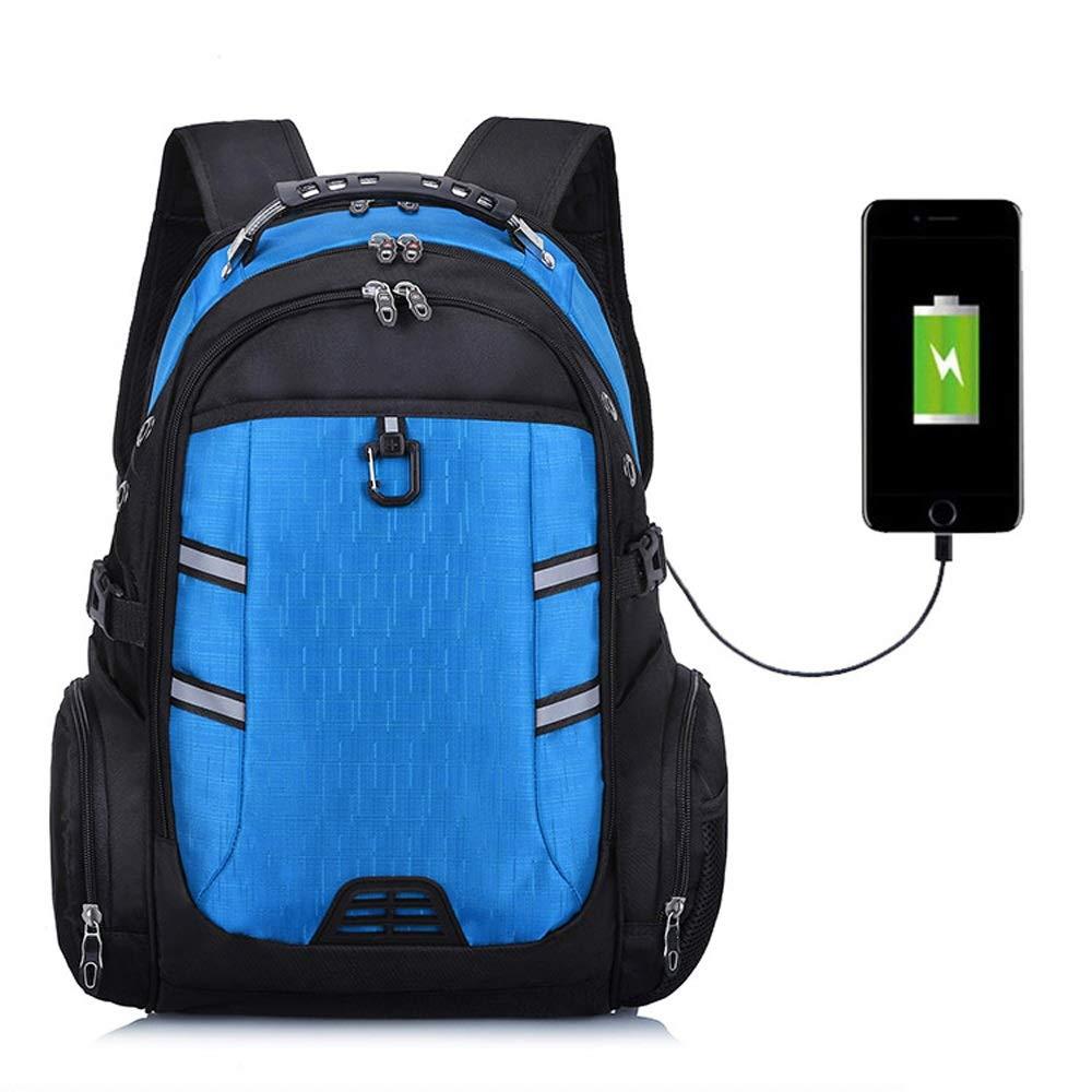 Student Rucksack, Outdoor Wasserdicht Multifunktionale Freizeit Computer Oxford Tuch Rucksack Große Kapazität Mit USB Lade Schnittstelle Outdoor Reisetasche (Farbe   Blau)