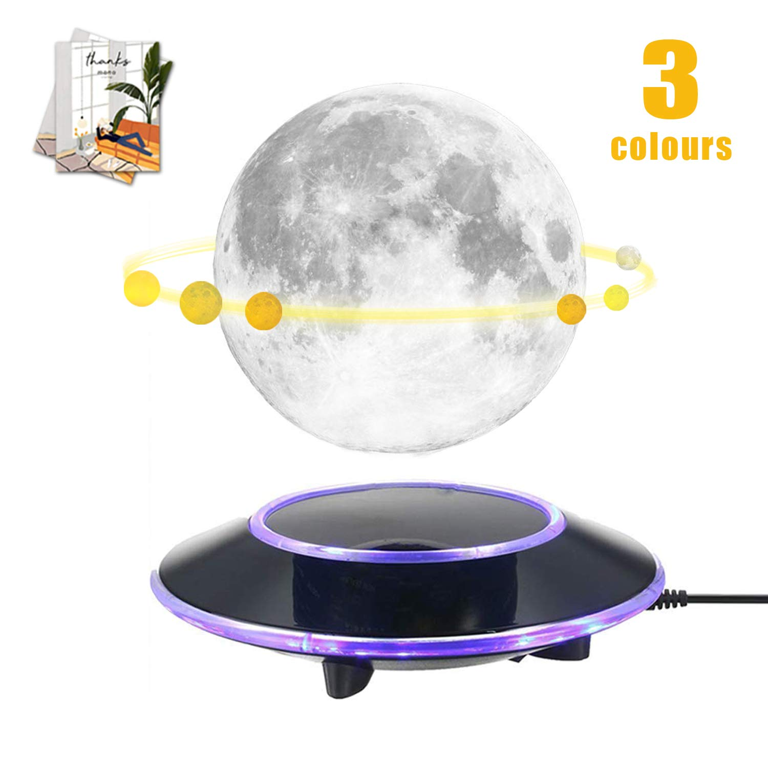 mono living Magnetic Levitating Moon Lamp Night Light 3D Print LED Auto Rotate Birthday Father's Day Gift Gift for Him Her Mother Family Couple Daughter TeenGirl Boyfriend Girlfriend 5.9''