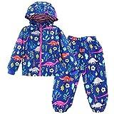 LZH Boys Waterproof Hooded Raincoat Jacket Dinosaur Coat+Pants Suit (7T(for Age 6-7Y), Blue)