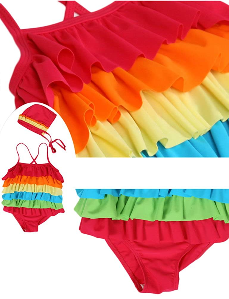 Baby Little Girls One-piece Swimsuit and Hat Rainbow Ruffle Layers Summer Bikini Set
