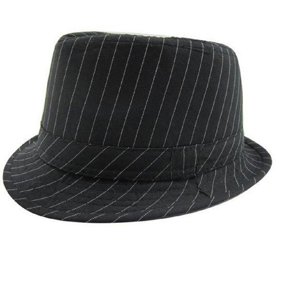 386265e57cb Amazon.com  Hooyi Baby Boy Girl Fedora Jazz Hat Plaid Pot Cap (Black)   Clothing