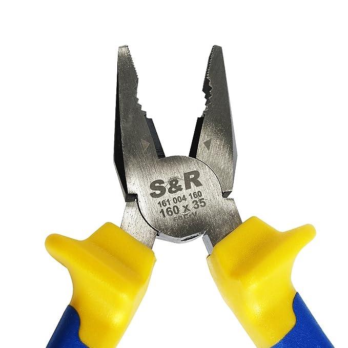 S&R Alicates universales 160 mm x34mm, Cr-V, 2-componente gestiona engomado: Amazon.es: Bricolaje y herramientas