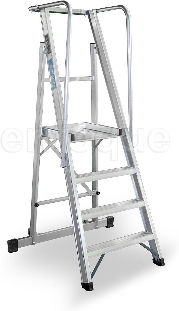 KTL Escalera Plegable con Plataforma y guardacuerpos 4 peldaños móvil Profesional Serie 2XL: Amazon.es: Hogar