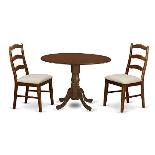 DLHE3-ESP-C 3 Pc Dining Table with 29 drop-leaf and 2 Seat Chairs