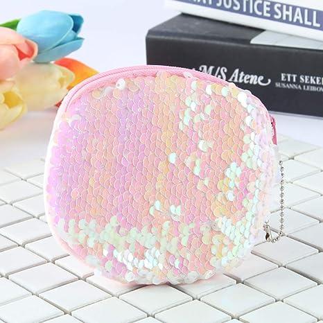 1 monedero de lentejuelas con purpurina para cambiar el dinero en efectivo, con cremallera, pequeño monedero para mujeres y niñas regalo 10 x 10 cm ...