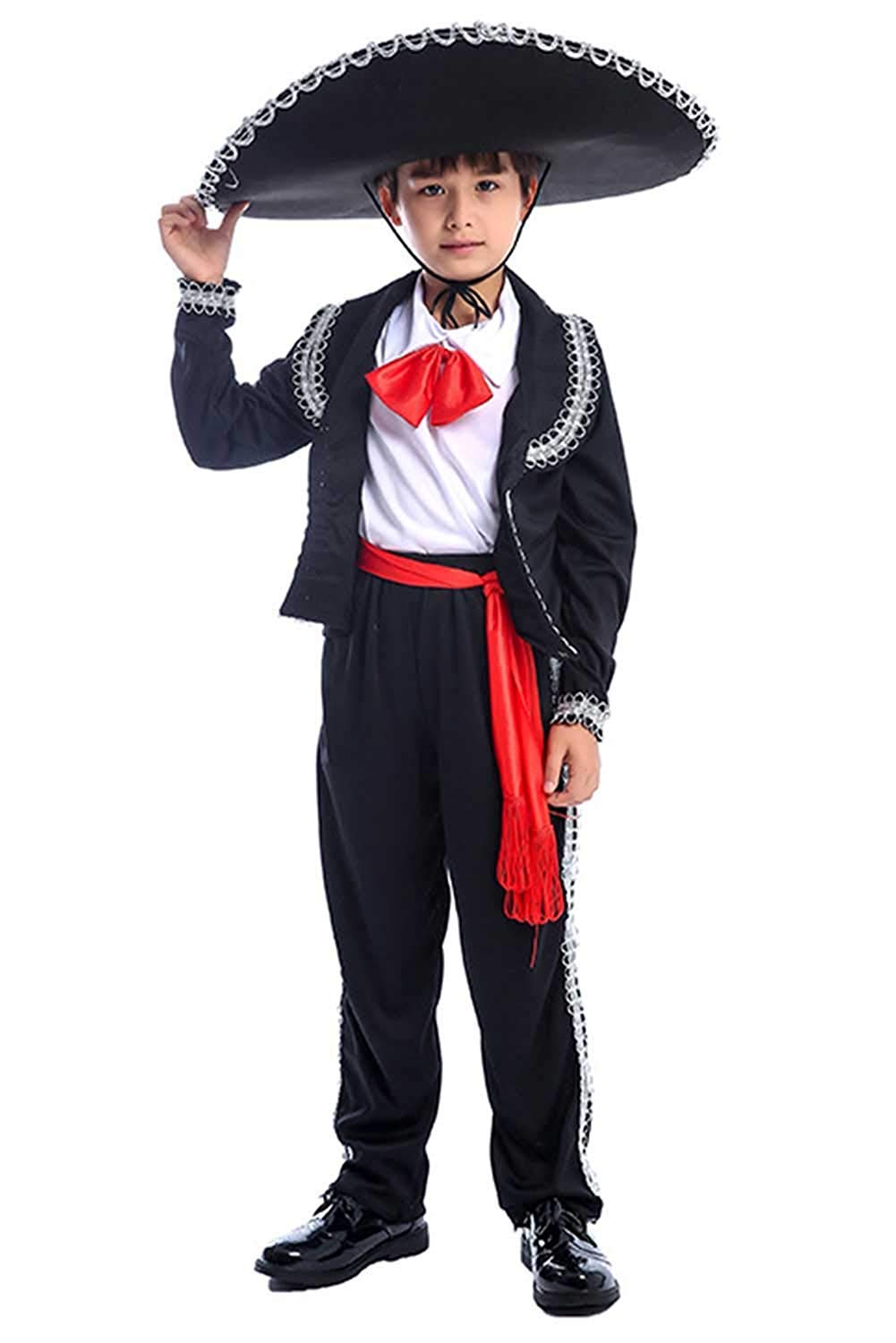 Skymecos Kids Mexican Mariachi Costume Theme Party Sombrero Senor Outfit 3-14 Years